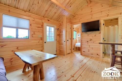 Kitchen and Living area in a Cabin Trailer