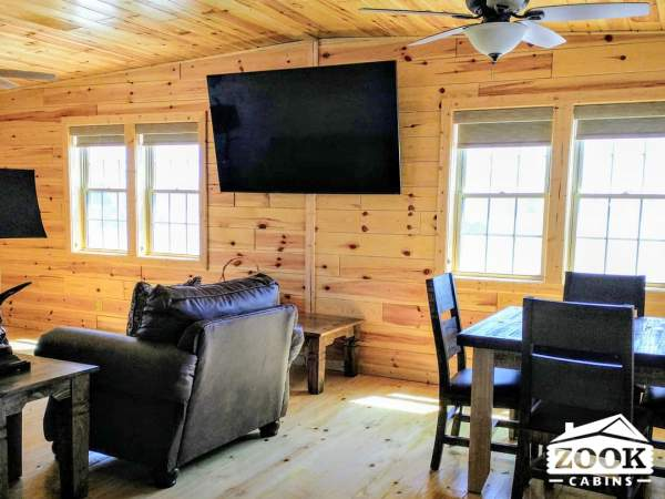 Small Cabin interior with a television