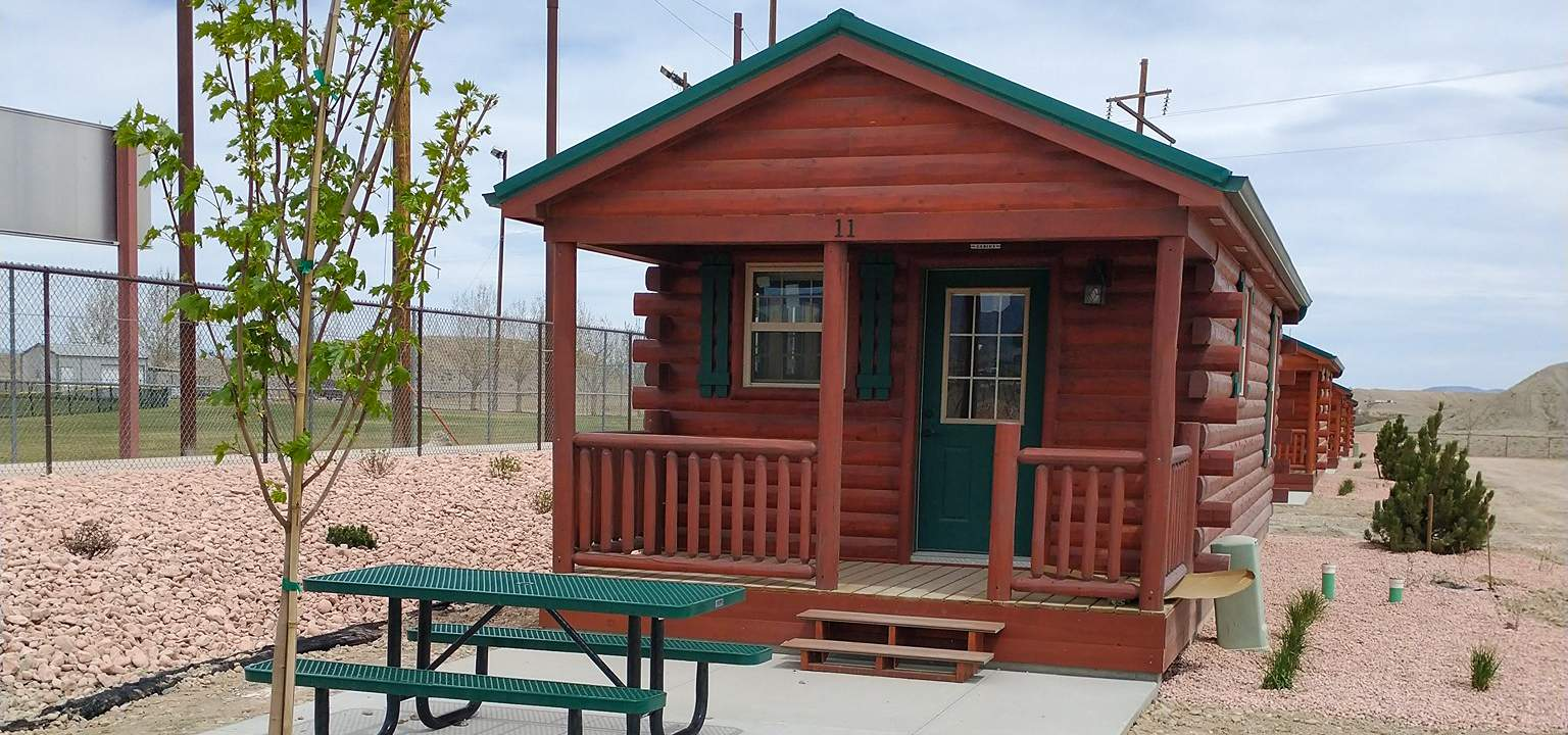 small cabin at a campground