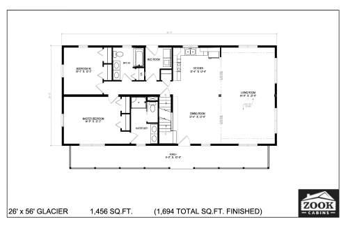 26x56 Glacier Floor Plans First Floor