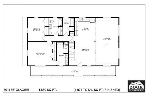 30x56 Glacier Floor Plans 1st Floor