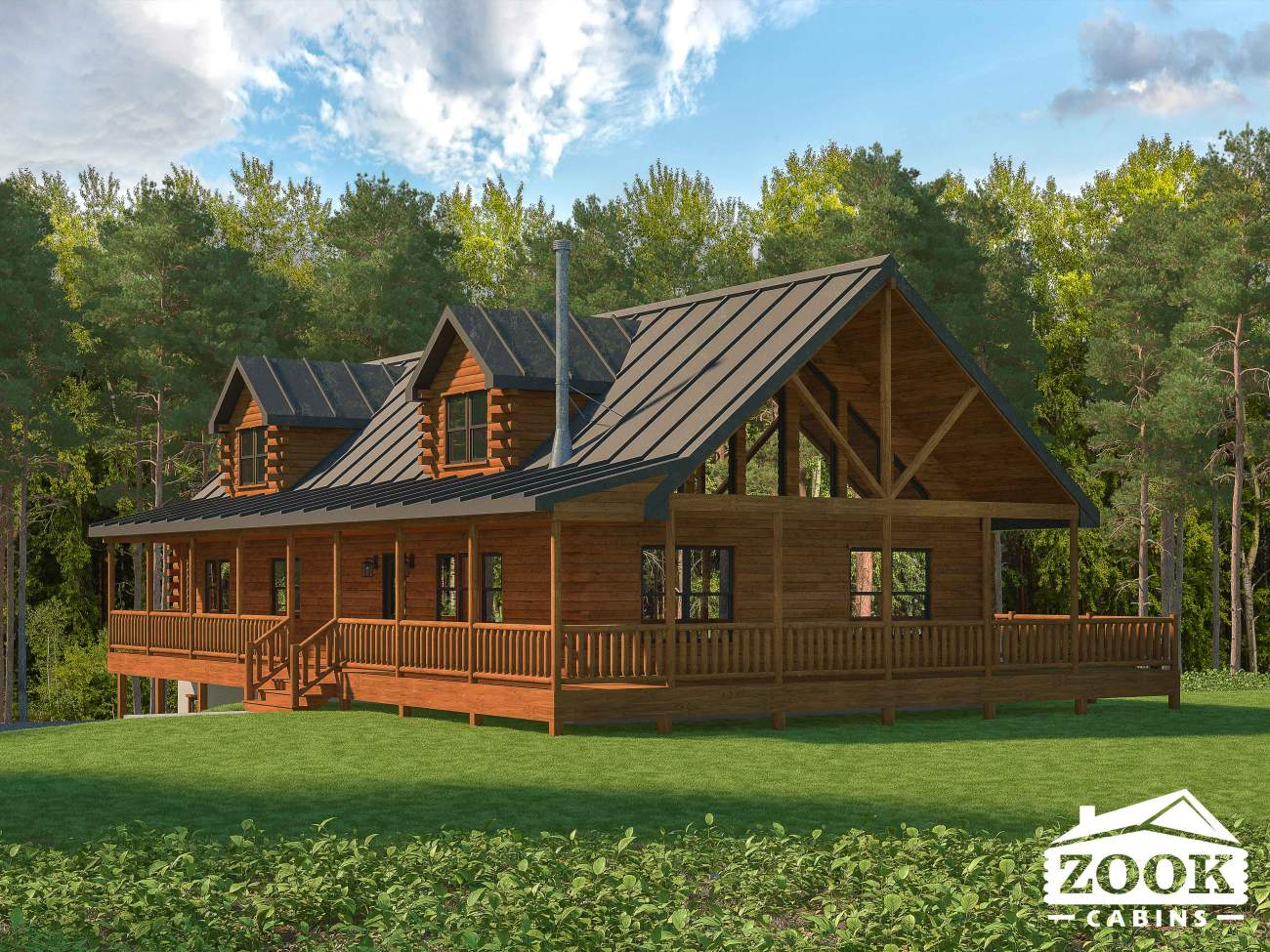 log cabin home with a porch and dormer windows