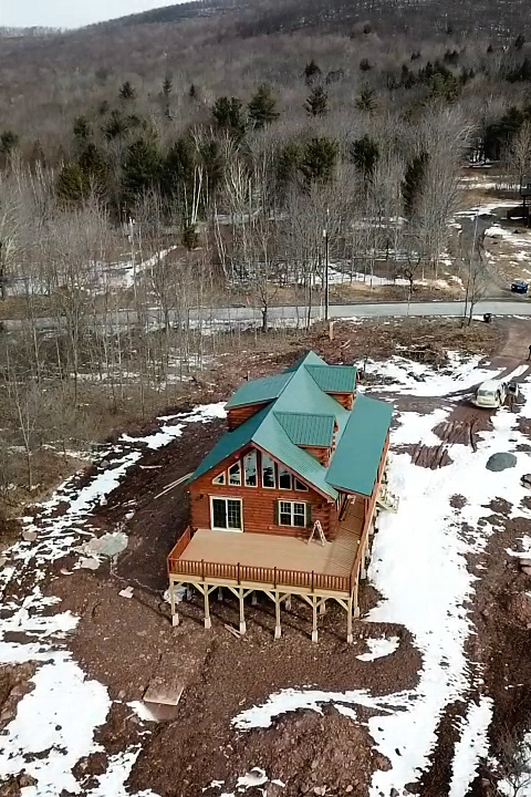 aerial shot of cabin in jewett new york