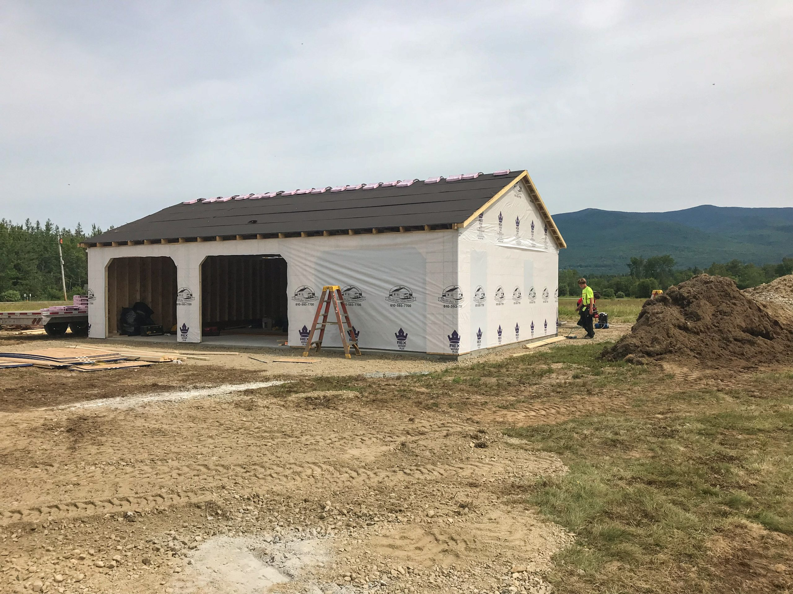 constructing garage at cabin in jefferson new hampshire