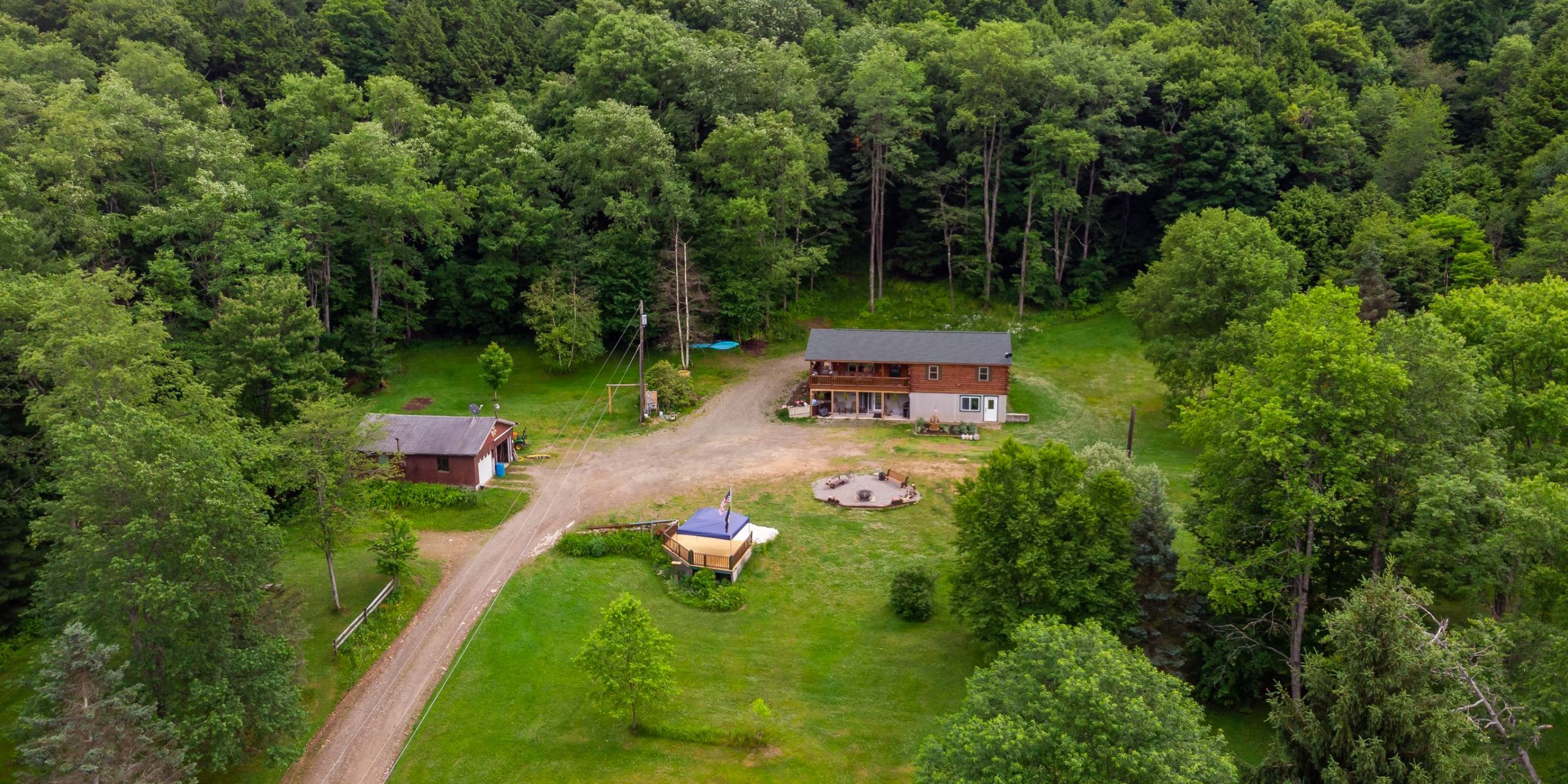 aerial photo of cabin in coudersport pa