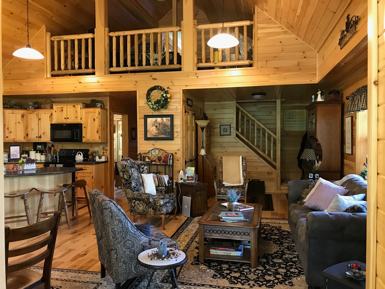 loft inside cabin in oldenburg indiana