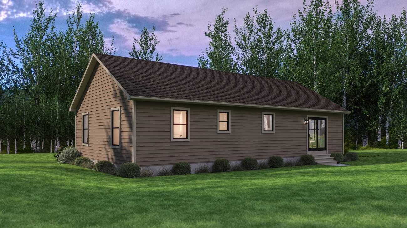 back yard elevation shot of a modern affordable cabin for sale