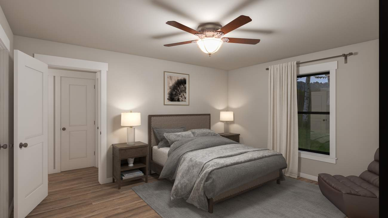 master bedroom photo in a modern modular cabin for sale by the amish