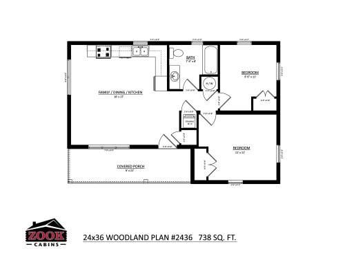 24x36 Woodland Floor Plan
