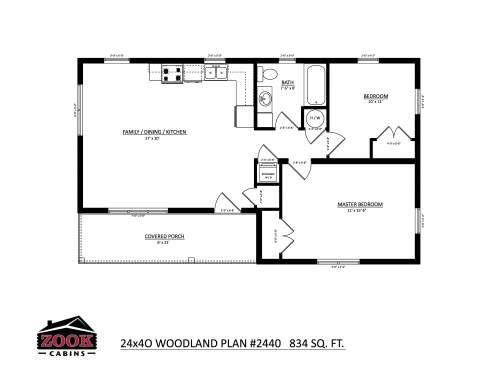 24x40 Woodland Floor Plan