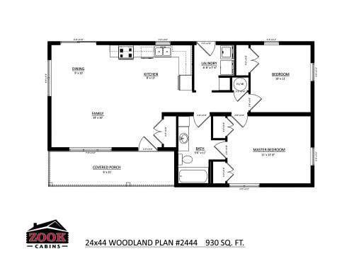 24x44 Woodland Floor Plan