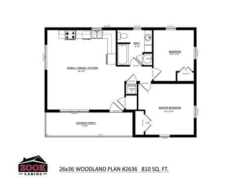26x36 Woodland Floor Plan