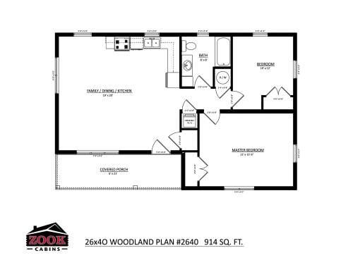 26x40 Woodland Floor Plan