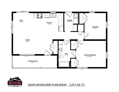 26x44 Woodland Floor Plan