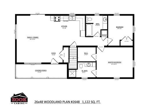 26x48 Woodland Floor Plan