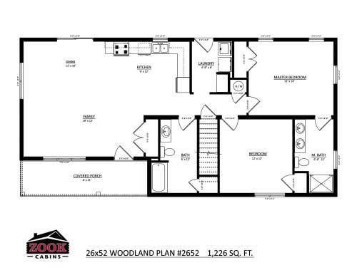 26x52 Woodland Floor Plan