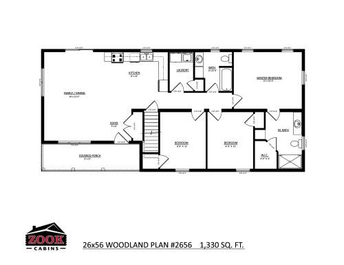 26x56 Woodland Floor Plan