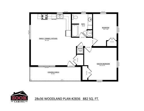 28x36 Woodland Floor Plan