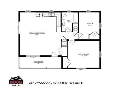 28x40 Woodland Floor Plan
