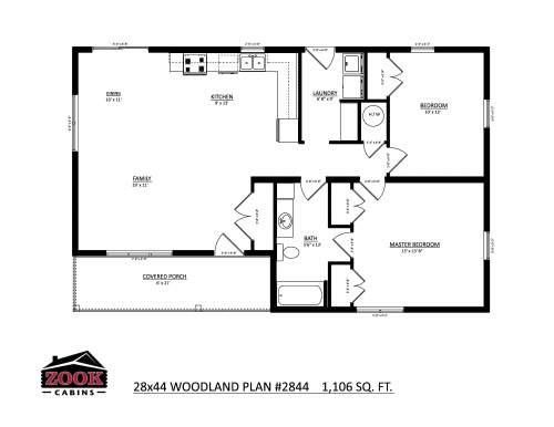 28x44 Woodland Floor Plan