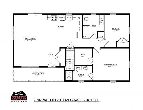 28x48 Woodland Floor Plan
