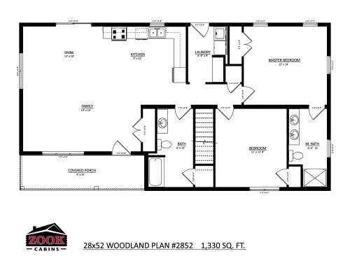 28x52 Woodland Floor Plan