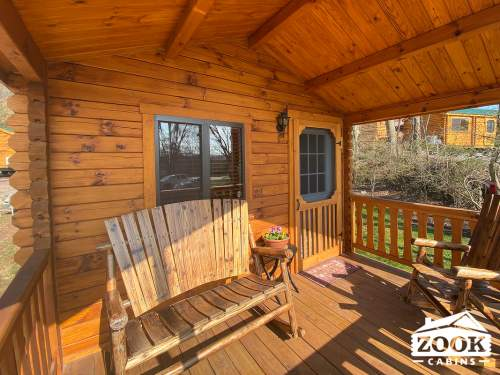 Lakeview Park Model Log Cabin Porch