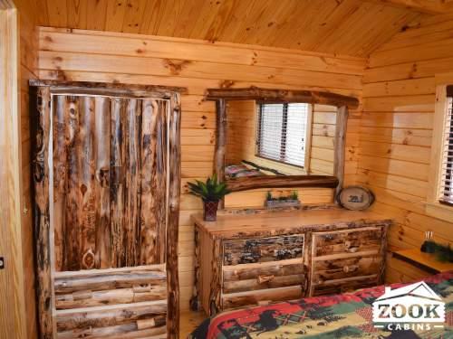 Park Model Log Cabin Master Bedroom