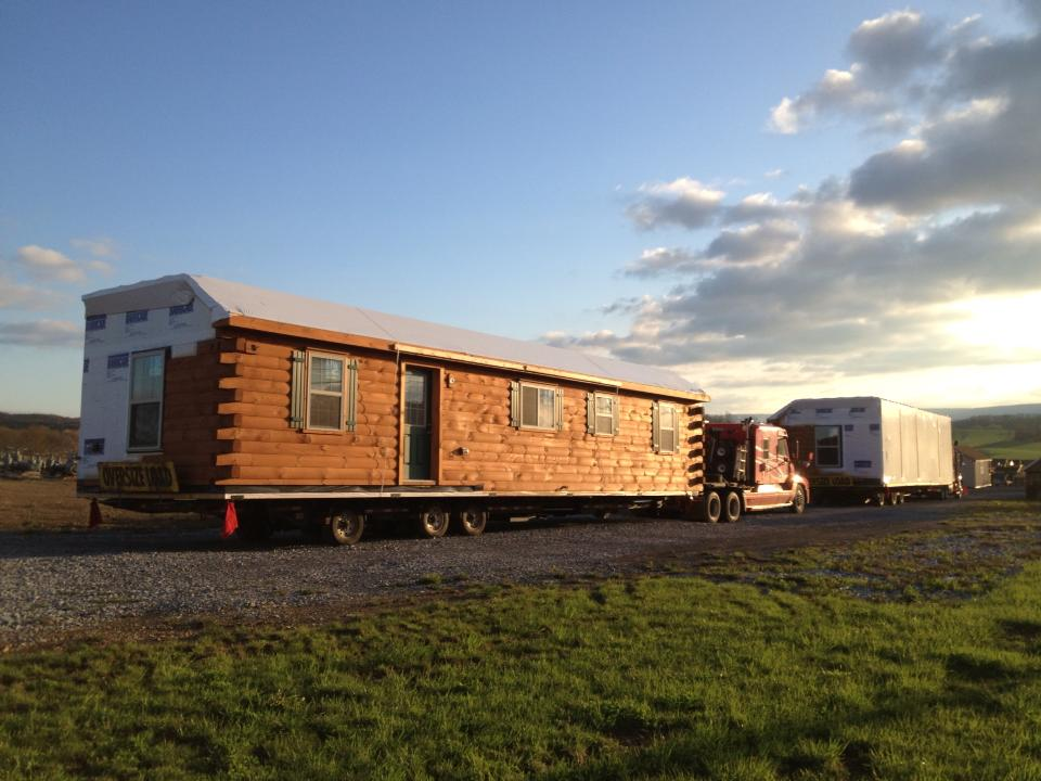 modular log home delivery pa