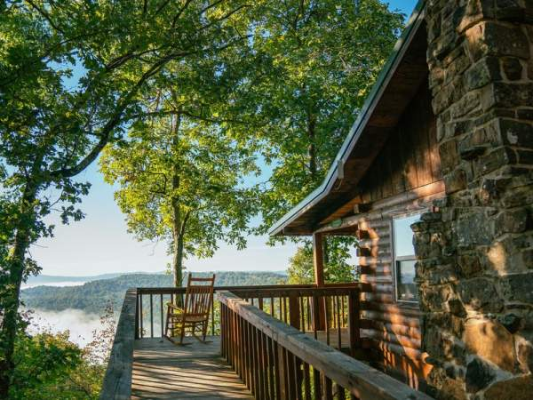beautiful view by log cabin home