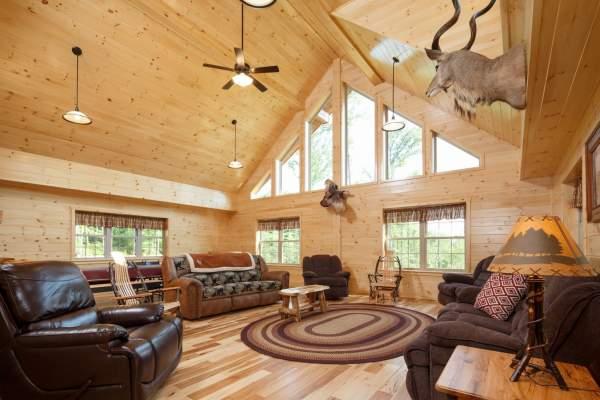 inside of a log cabin home