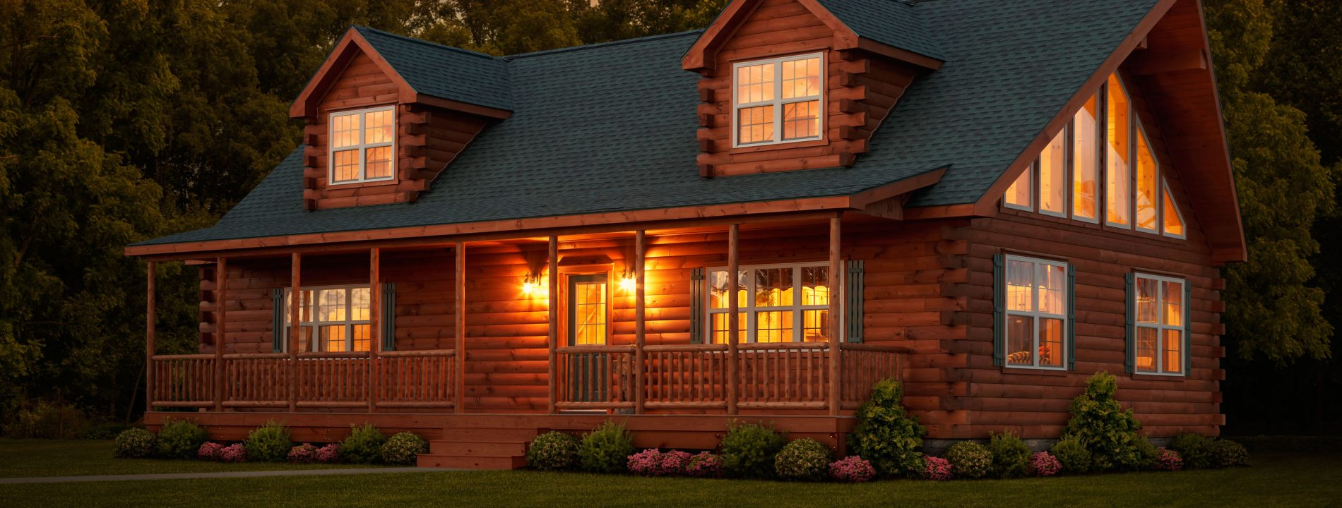 cozy log cabin home nighttime