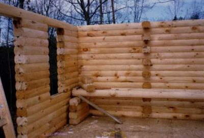 log cabin kit being built