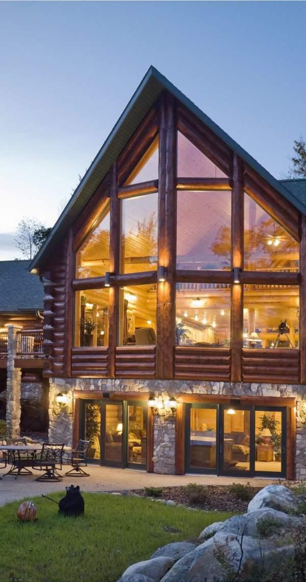 beautiful windows in log cabin