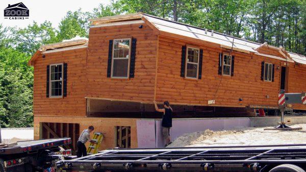 assembling a modular hunting cabin