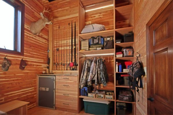 storing hunting gear inside hunting cabin