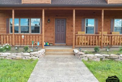 log cabin living front porch
