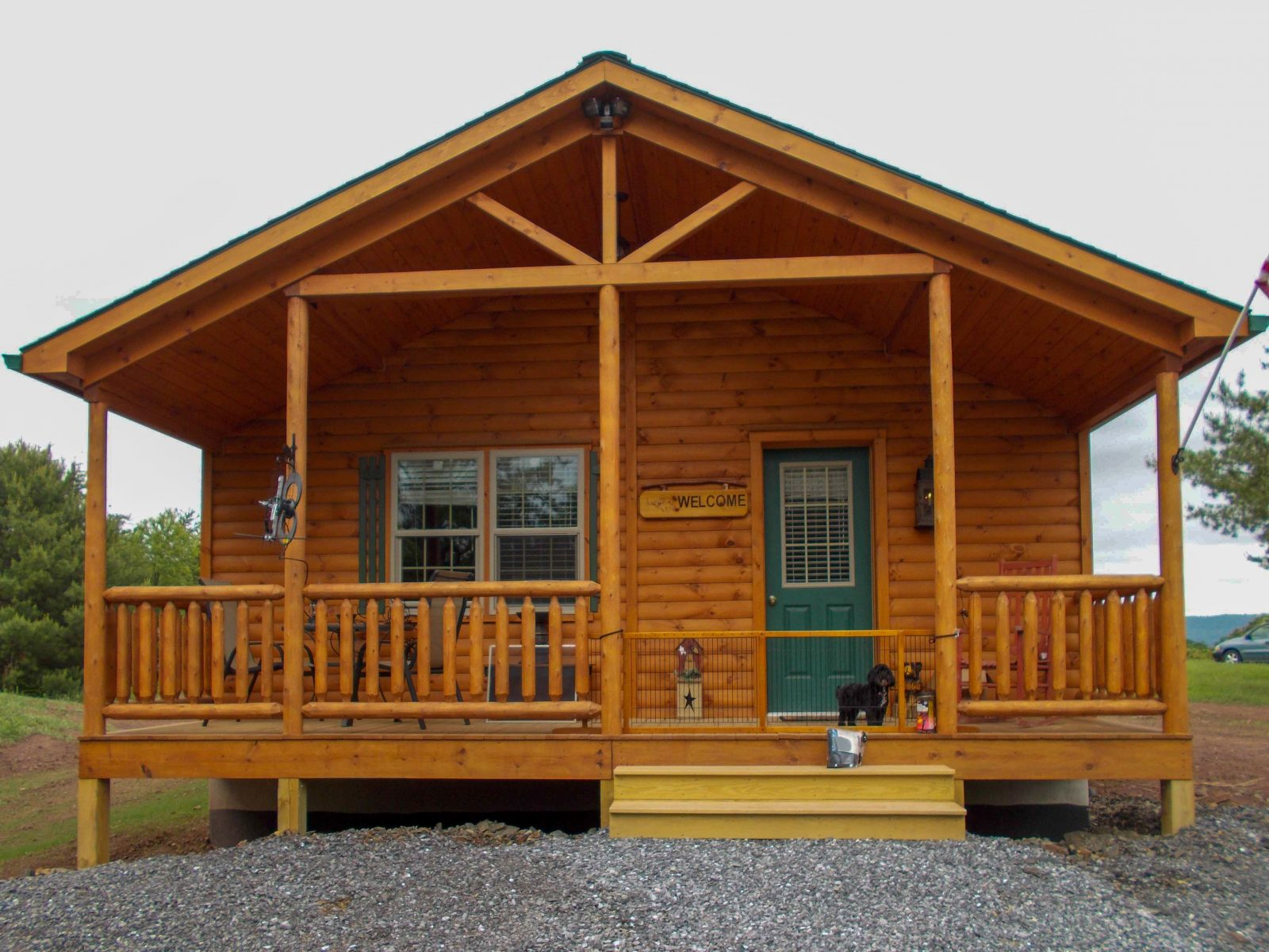 end porch on a ranch style cabin 1