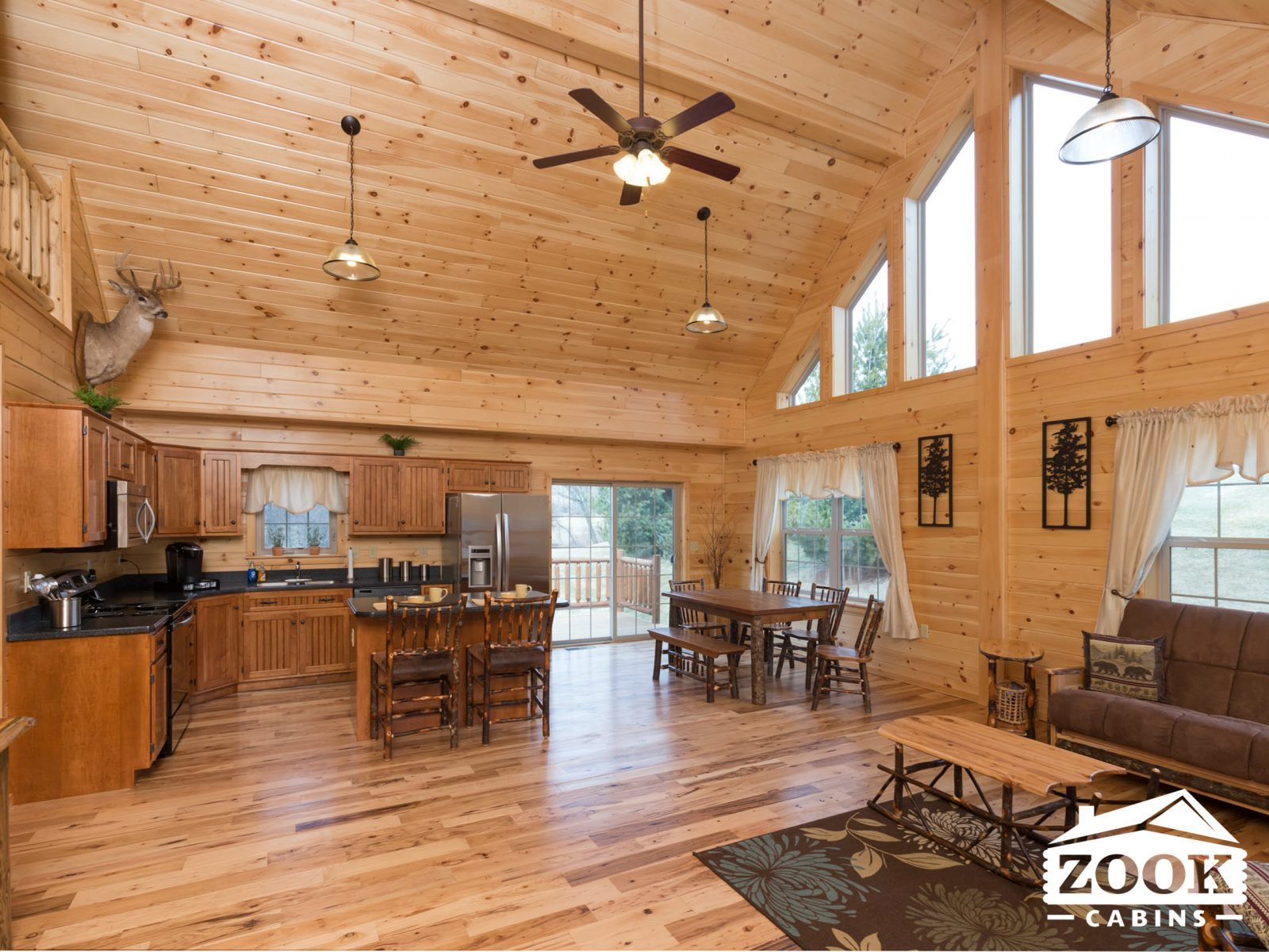 The interior of a log cabin