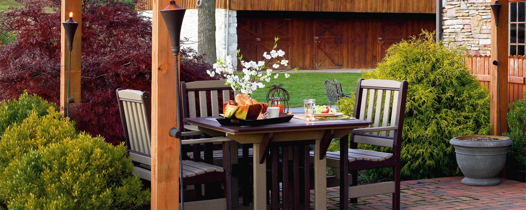poly outdoor dining table chairs log home furniture