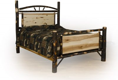 panel bed cabin hickory wood bedroom furniture