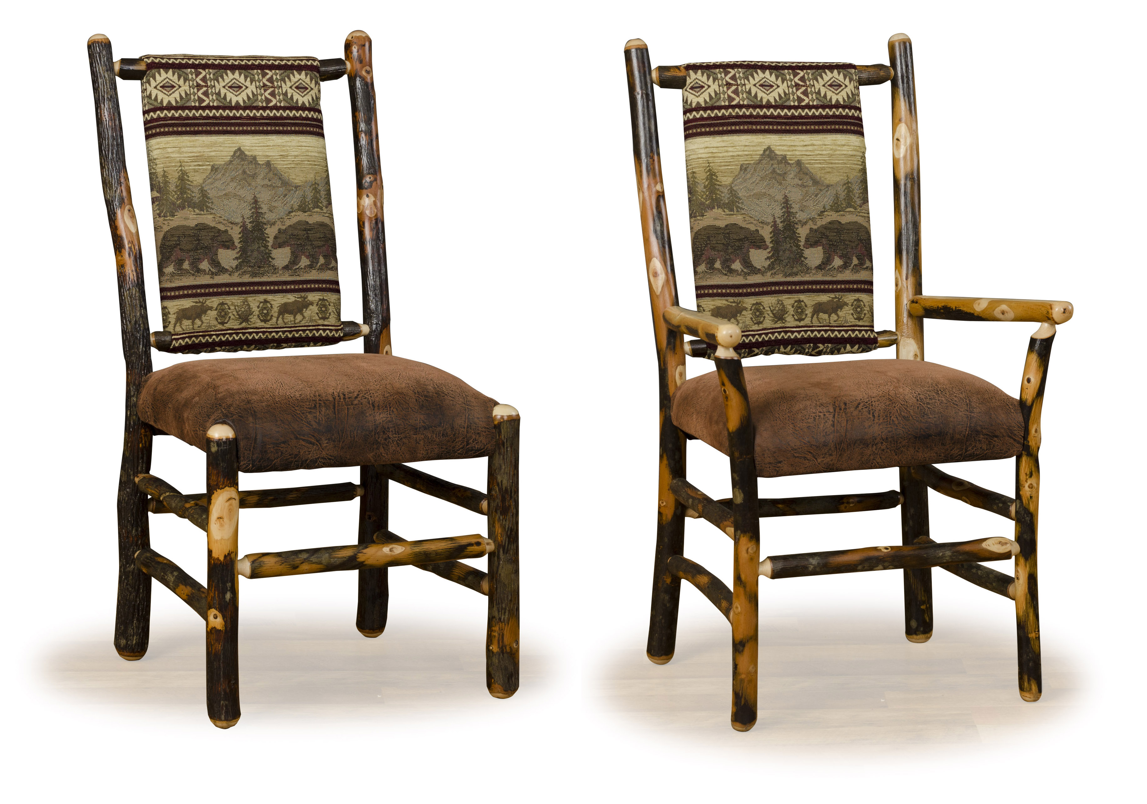 low back padded chairs log home dining rooms - Zook Cabins