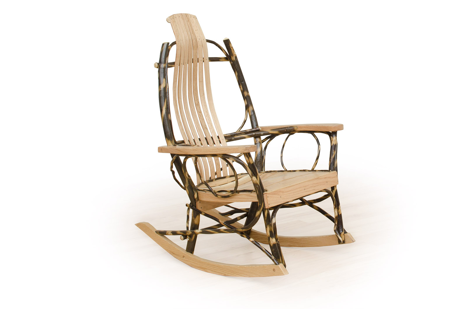 flat arm hickory rocker log home living rooms - Zook Cabins