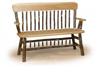 oak back deacon bench cabin living room furniture