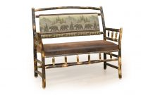 padded deacon bench cabin living room furniture