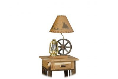 wagon wheel lamp furniture for log cabins