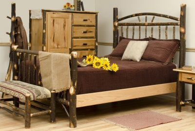 Hickory Wood Bed, Bath, Desks · Log Cabin Dining Room Furniture