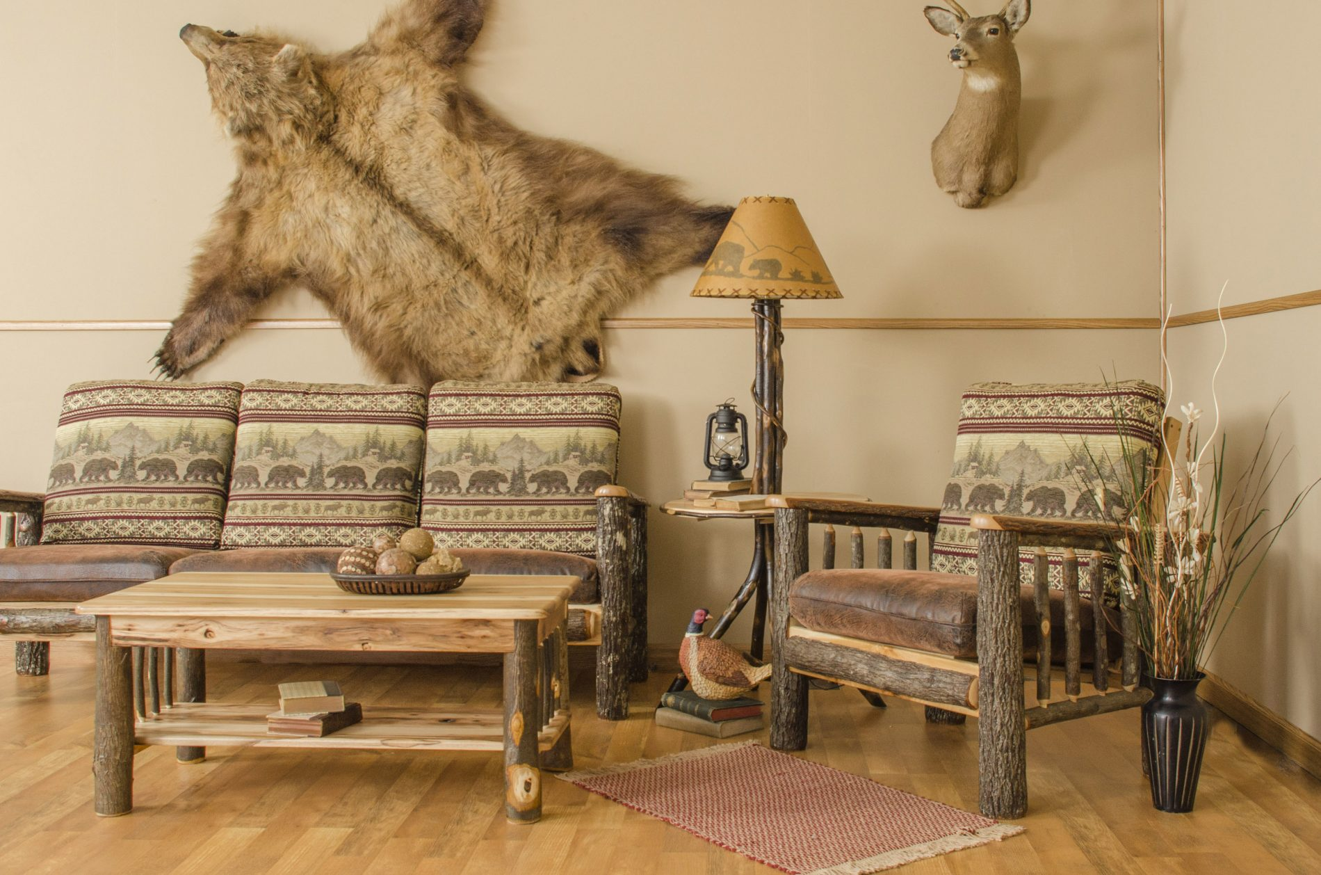 Log living room tables for Log cabin furniture canada