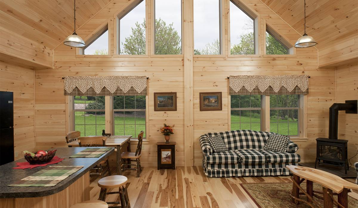 prebuilt cabin interior for wyoming log homes