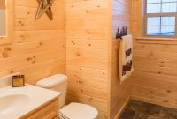 prefab log cabin home bathroom